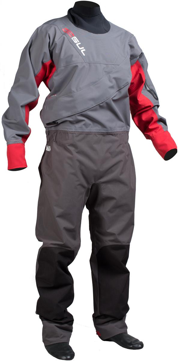 2017 Gul Dartmouth Eclip Zip Drysuit CHARCOAL / RED + UNDERFLEECE GM0378