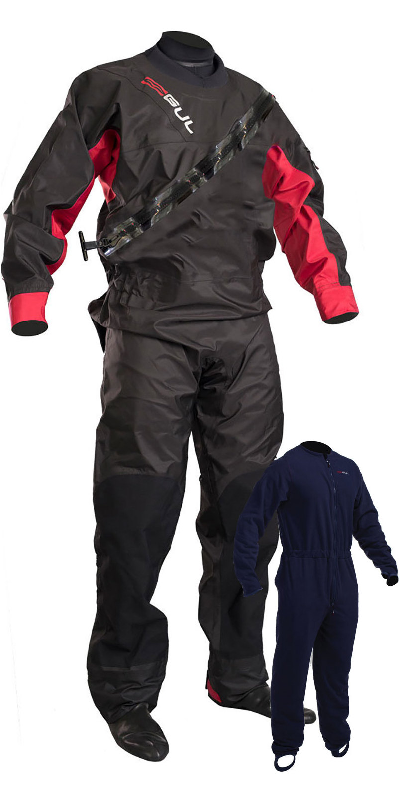 2019 GUL Junior Dartmouth Eclip Zip Drysuit & Free Underfleece BLACK / RED GM0378-B5