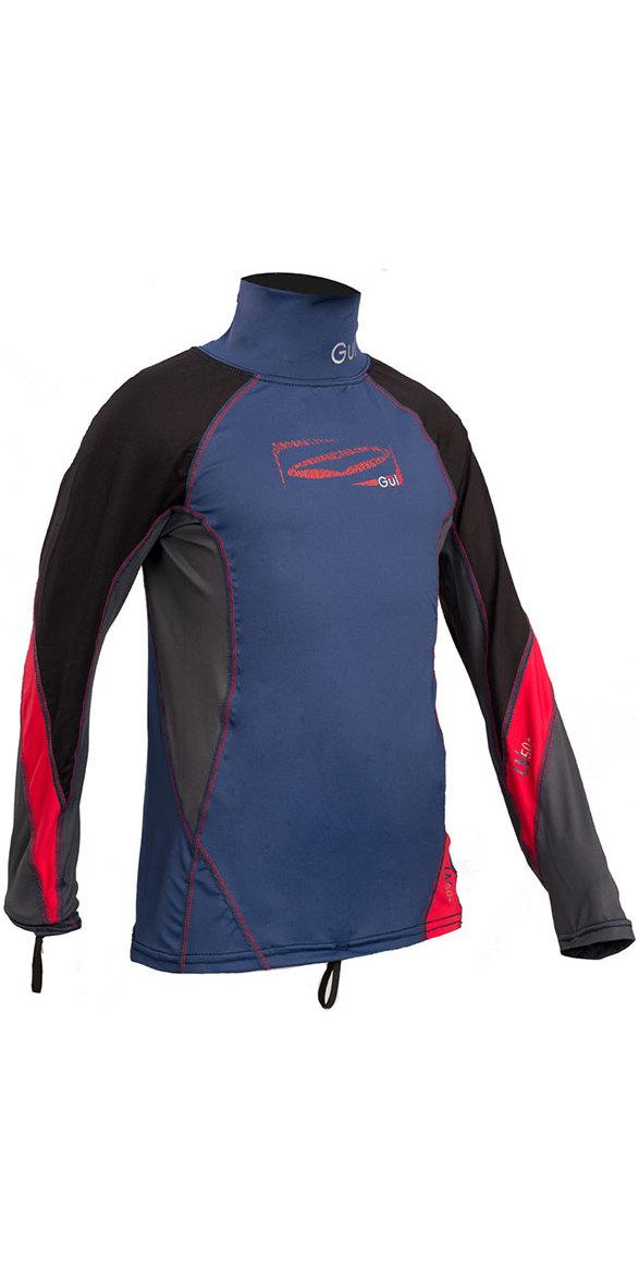 GUL Junior Long Sleeve Rash Vest Blue / Red RG0344-B4