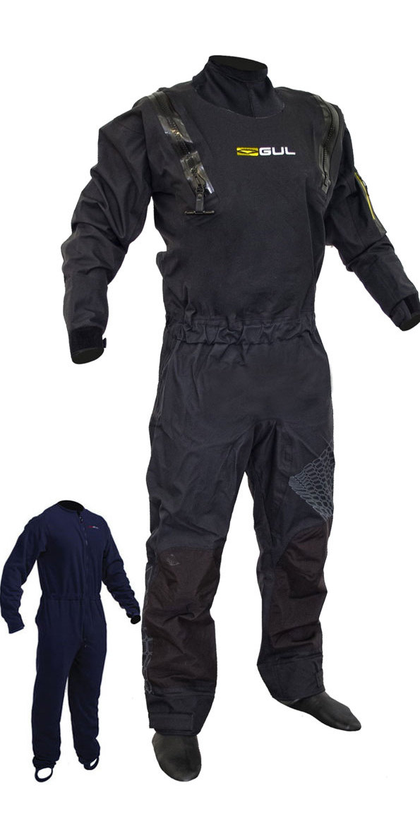 2019 Gul Mens Code Zero Stretch U-Zip Drysuit + Underfleece GM0368-B5 - Black