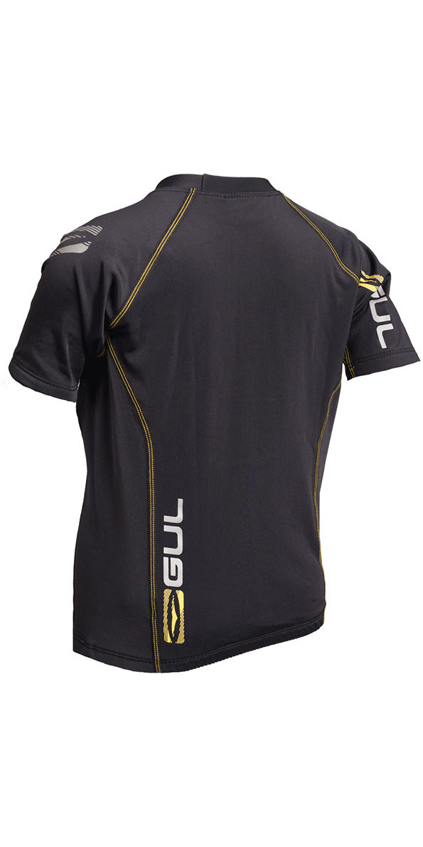2019 Gul Evolite Junior Flatlock Thermal Short Sleeve Top Black EV0124-B2