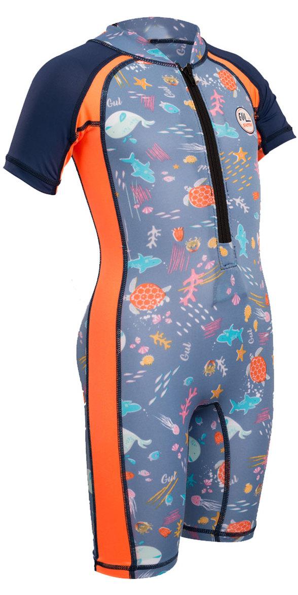 2018 Gul Junior Front Zip UV Sun Suit Sealife RG0349-B4