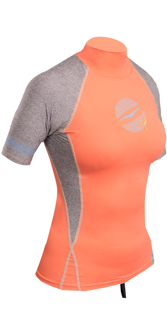 2018 Gul Womens Swami Short Sleeve Rash Vest Coral / Marl RG0330-B4