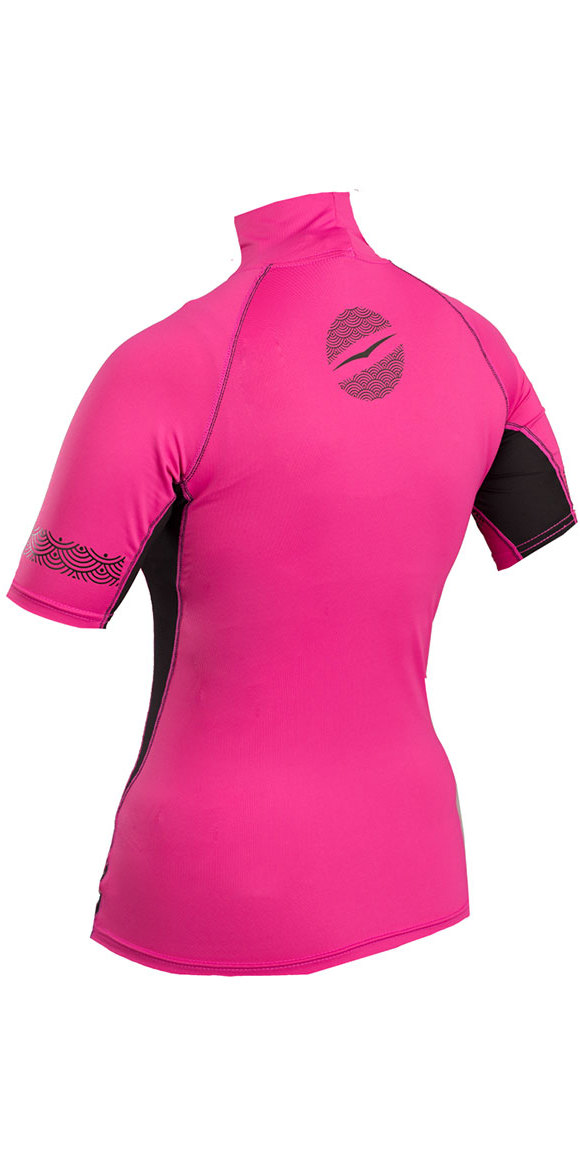 Gul Womens Swami Short Sleeve Rash Vest Pink / Black RG0330-B4