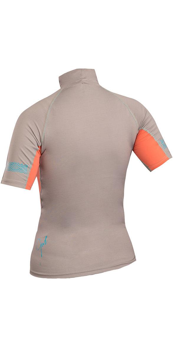 Gul Womens Swami Short Sleeve Rash Vest Silver / Coral RG0330-B4