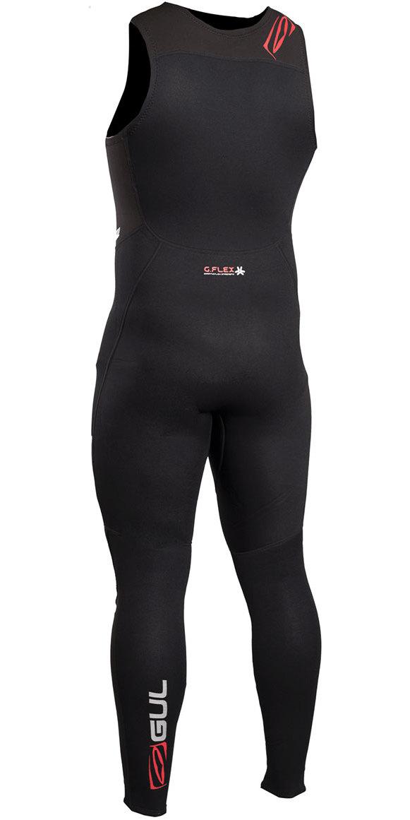 2019 Gul Response 3mm Flatlock Long John Wetsuit Black RE4313-B4