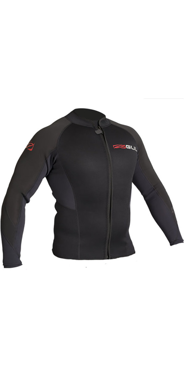 2019 Gul Response 3mm Flatlock Bolero Wetsuit Jacket BLACK RE6304-B4