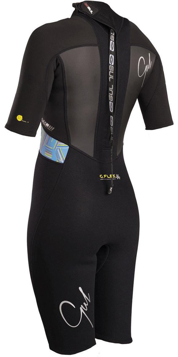 2019 Gul Womens Response 3/2mm Back Zip Shorty Wetsuit Black / Lines RE3318-B4