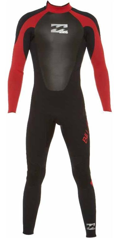 Billabong JUNIOR Intruder 5/4/3mm GBS Back Zip Wetsuit BLACK / RED 045B15