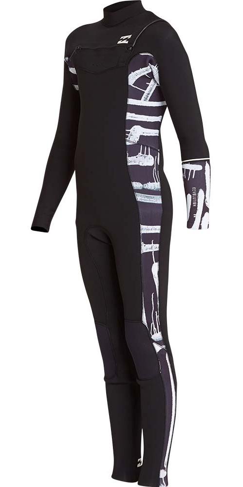 2018 Billabong Junior Furnace Revolution 3/2mm Chest Zip Wetsuit Black Print L43B04