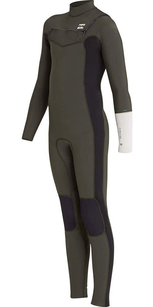 Billabong Junior Furnace Revolution 4/3mm Chest Zip Wetsuit Dark Olive L44B04