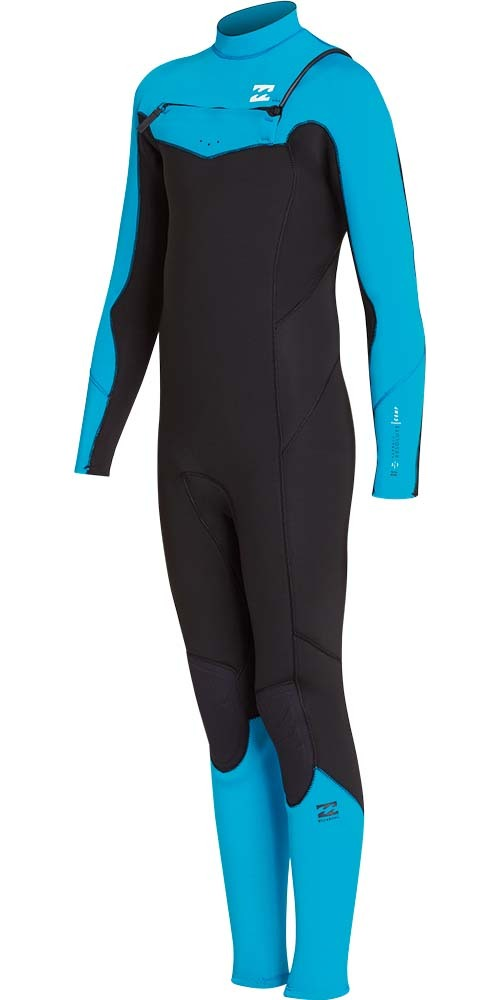 2018 Billabong Junior Furnace Absolute 4/3mm Chest Zip Wetsuit Blue Lagoon L44B05
