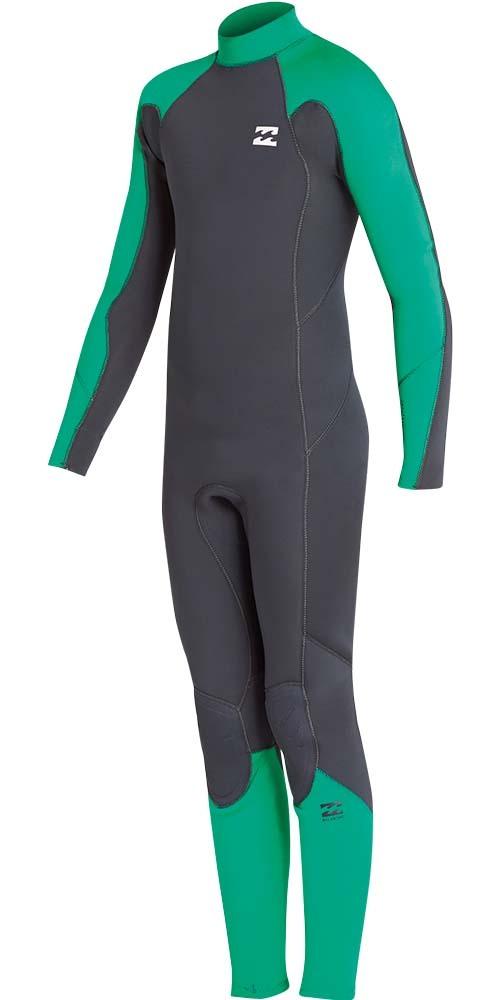 2018 Billabong Junior Furnace Absolute 4/3mm Back Zip Wetsuit Green L44B06