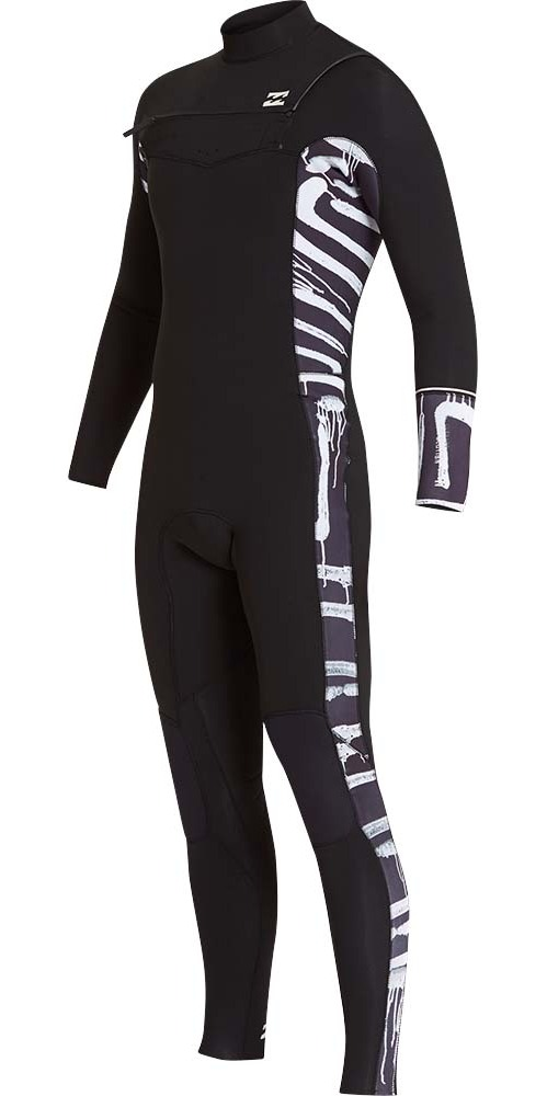 2019 Billabong Furnace Revolution 4/3mm Chest Zip Wetsuit Black Print L44M06