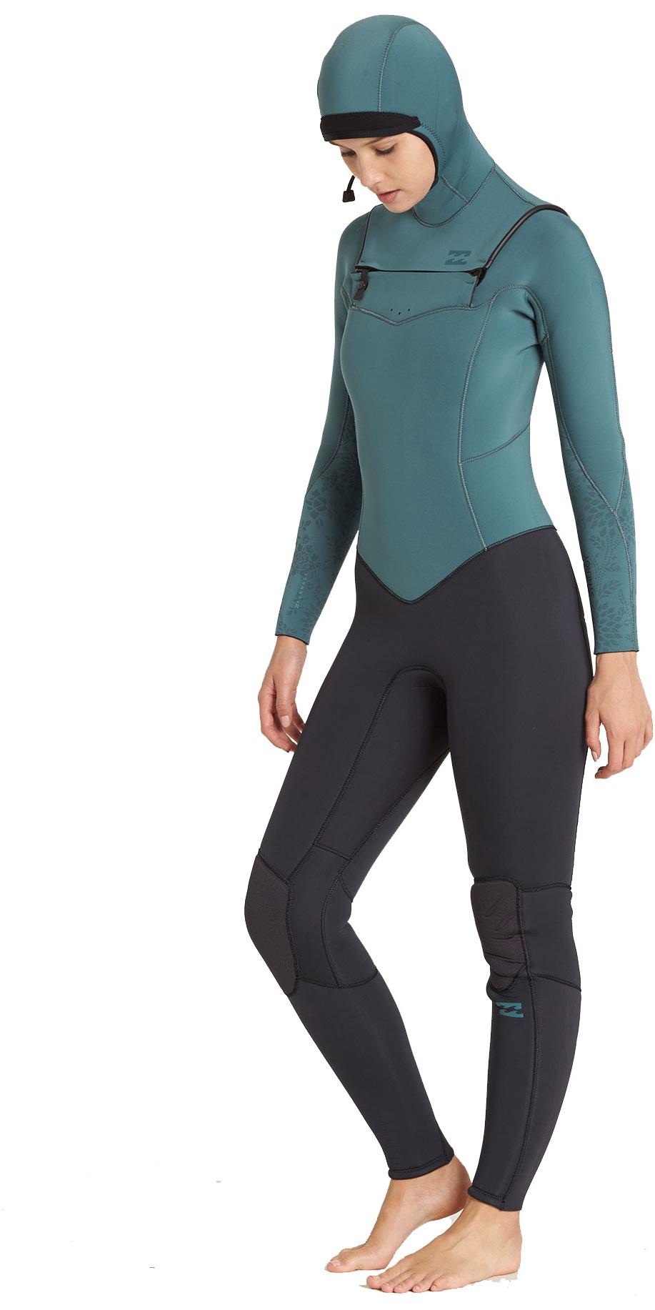 2018 Billabong Womens Furnace Synergy 5/4mm Hooded Chest Zip Wetsuit Sugar Pine L45G30