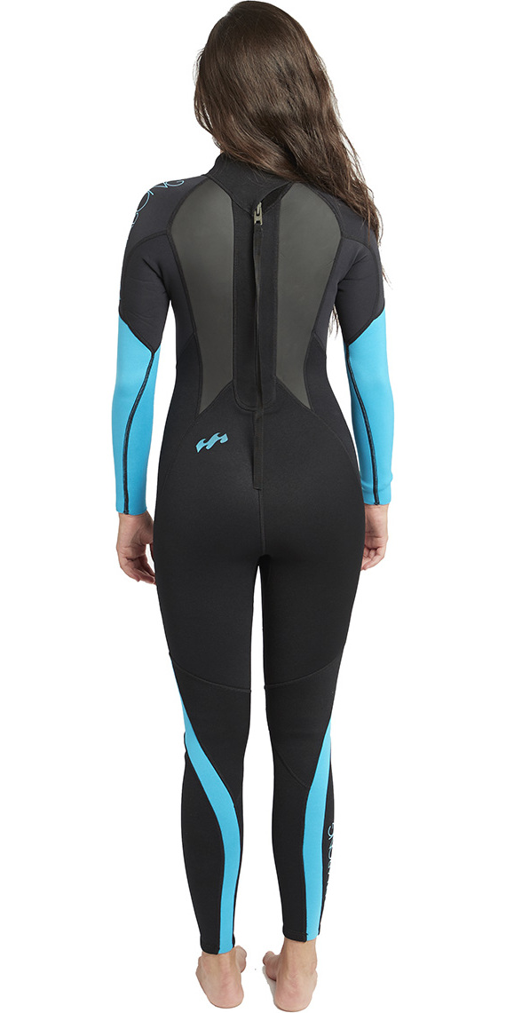 2019 Billabong Womens Launch 3/2mm GBS Wetsuit Black / Turquoise BLUE 043G01