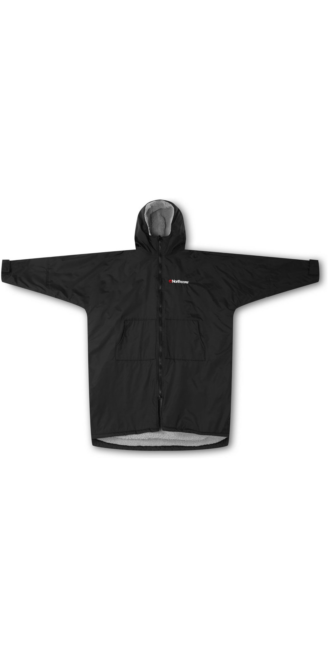 2019 Northcore Beach Basha Sport Long Sleeve Changing Robe Black NOCO24O