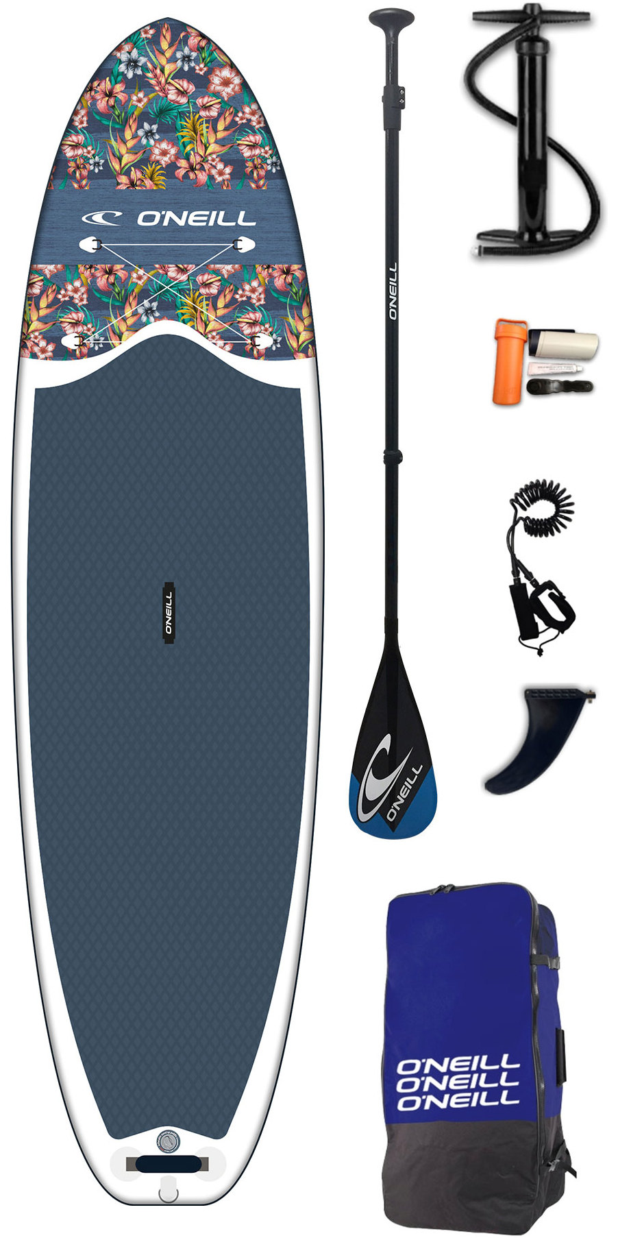 2019 O'Neill Lifestyle 10'6 Inflatable SUP Board, Paddle, Pump, Bag & Leash Flowers