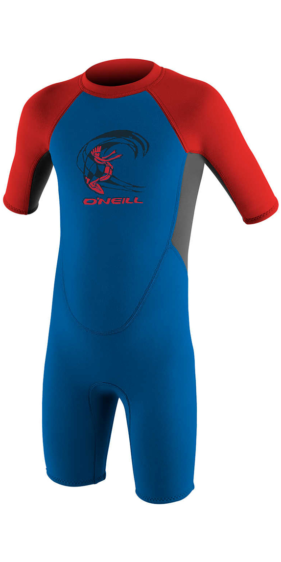 2019 O'Neill Toddler Reactor 2mm Back Zip Shorty Wetsuit OCEAN / GRAPHITE / RED 4867