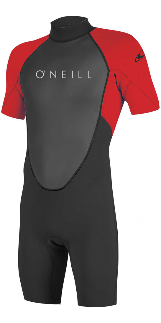 O'Neill Youth Reactor II 2mm Back Zip Shorty Wetsuit BLACK / RED 5045