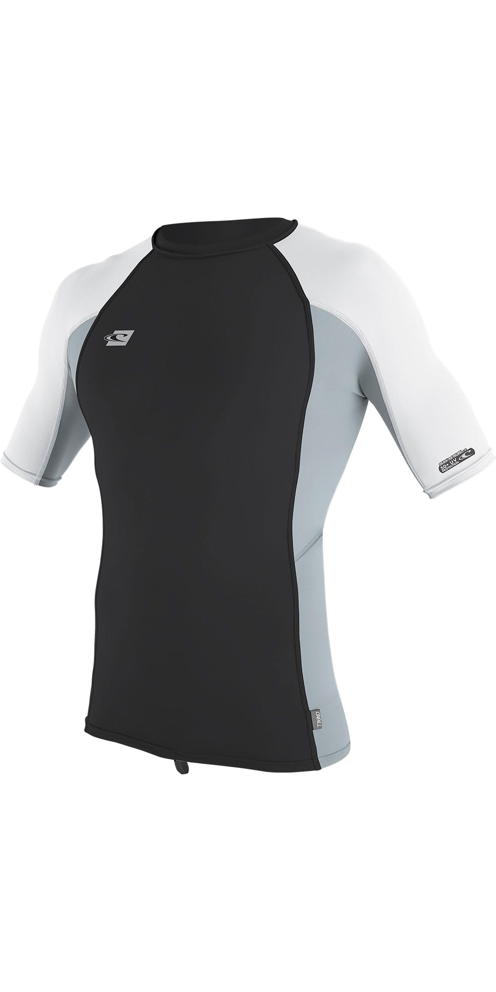 2019 O'Neill Mens Premium Skins Short Sleeve Rash Vest Oil / Grey / White 4169B