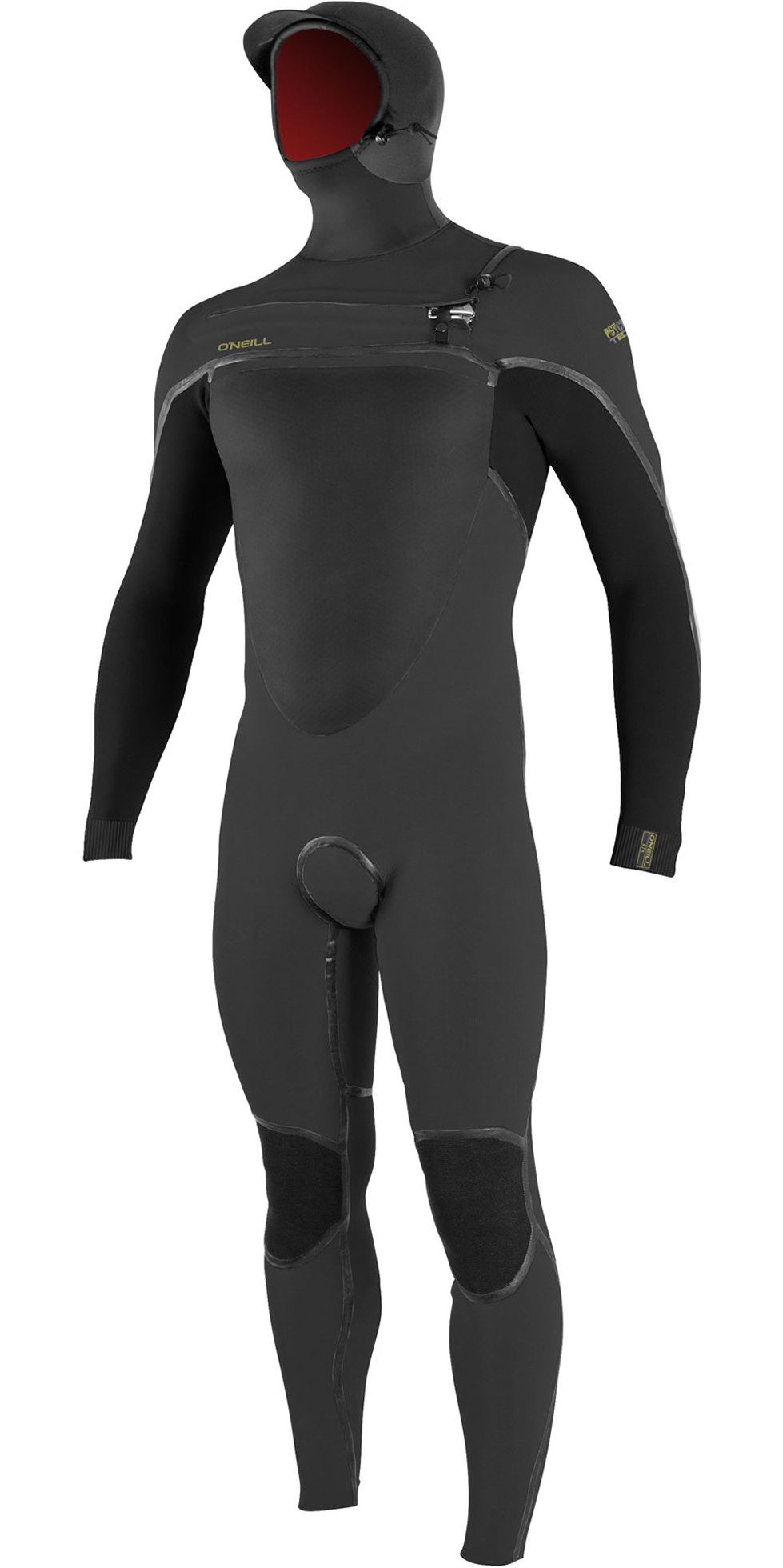 2019 O'Neill Psycho Tech 6/4mm Chest Zip Hooded Wetsuit Raven / Black 5366
