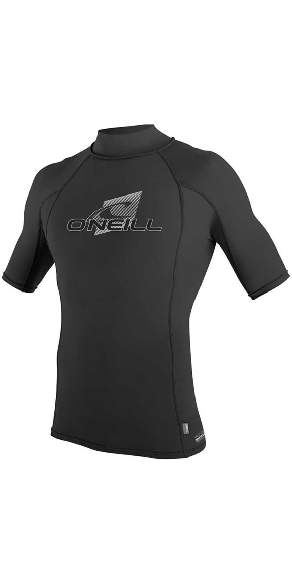 2019 O'Neill Skins Short Sleeve Turtle Neck Rash Vest Black 4517