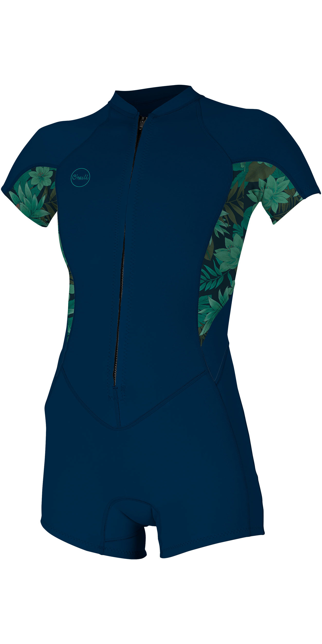 2019 O'Neill Womens Bahia 2/1mm Front Zip Shorty Wetsuit Abyss / Faro 5293