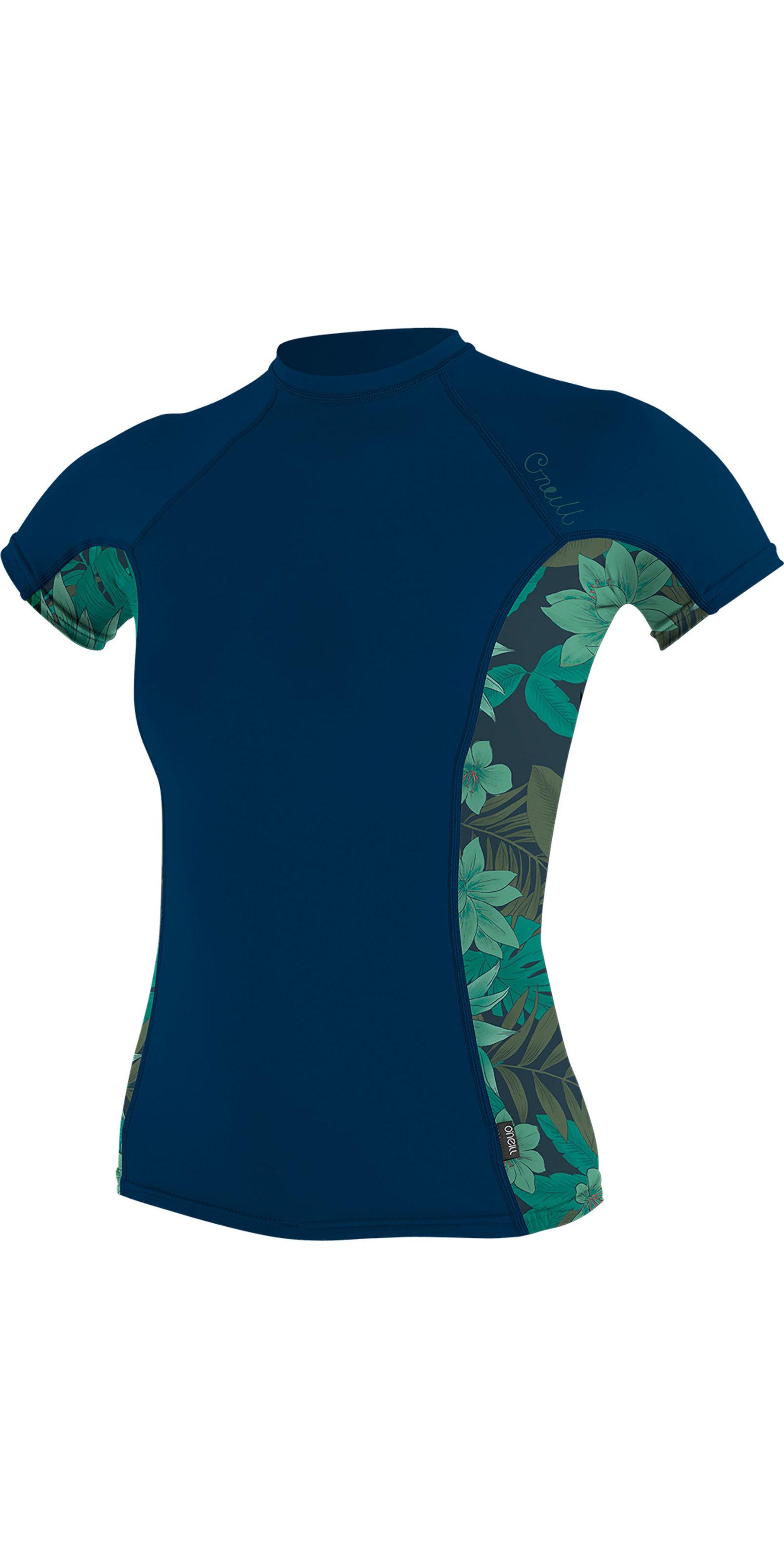 2019 O'Neill Womens Side Print Short Sleeve Rash Vest Abyss / Faro 5309S