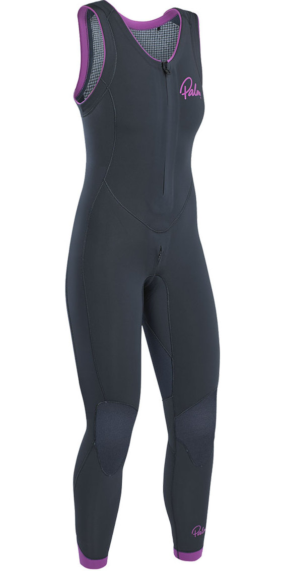2020 Palm Blaze Womens 3mm GBS Front Zip Long John Wetsuit Jet Grey 12231