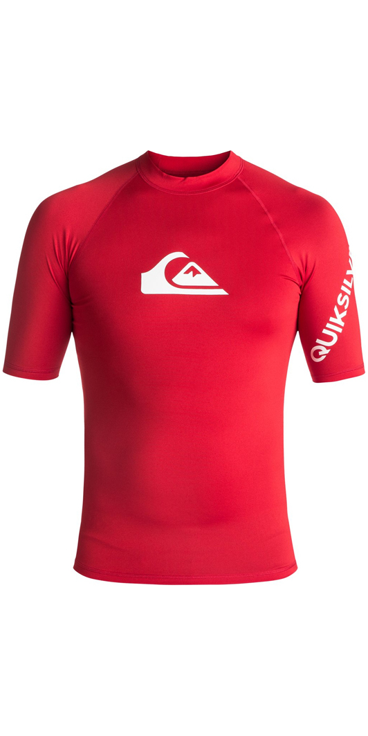 2018 Quiksilver All Time Short Sleeve Rash Vest QUICK RED EQYWR03033