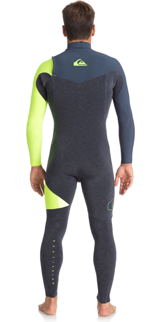 2018 Quiksilver Highline Series 3/2mm Zipperless Wetsuit SLATE / PEWTER / SAFETY YELLOW EQYW103050