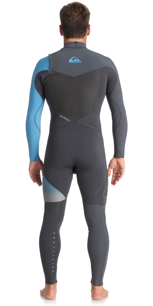 2018 Quiksilver Highline+ 3/2mm Chest Zip Wetsuit GUN METAL / SEA BLUE EQYW103049