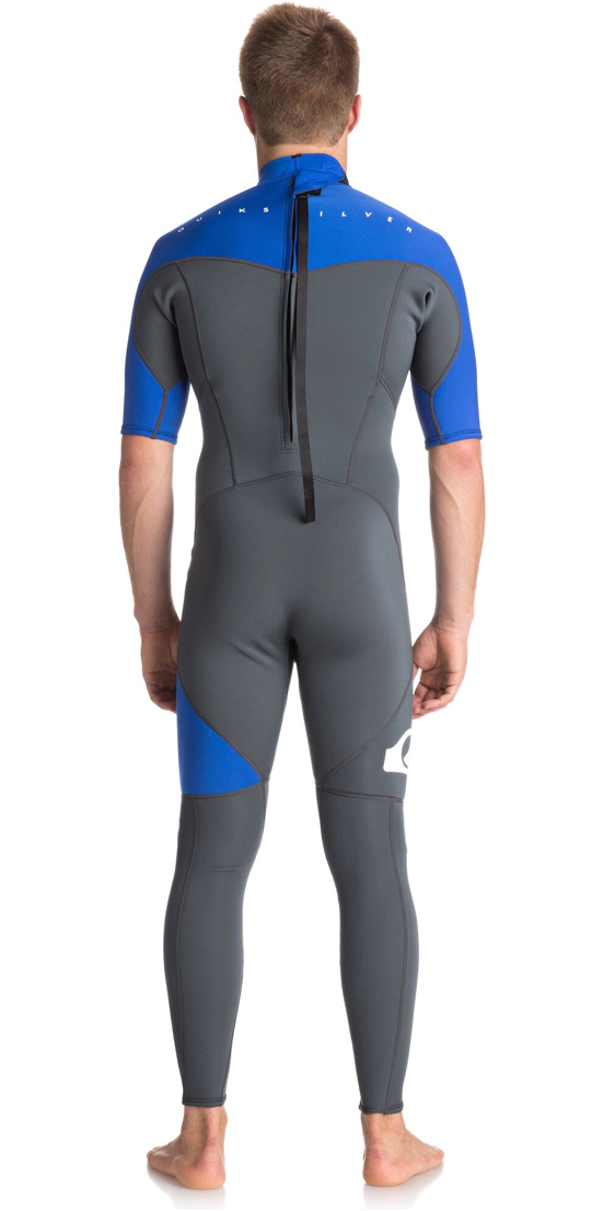 2018 Quiksilver Syncro Series 2mm Short Sleeve Back Zip Wetsuit GUNMETAL / ROYAL BLUE EQYW303005