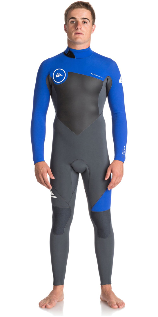 2018 Quiksilver Syncro Series 4/3mm Back Zip GBS Wetsuit GUNMETAL / ROYAL BLUE EQYW103041