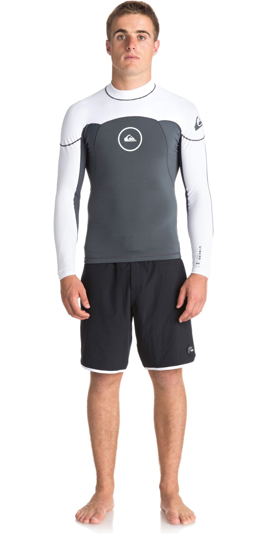 2019 Quiksilver Syncro Series 1mm Long Sleeve Neoprene Top GUNMETAL / WHITE EQYW803008