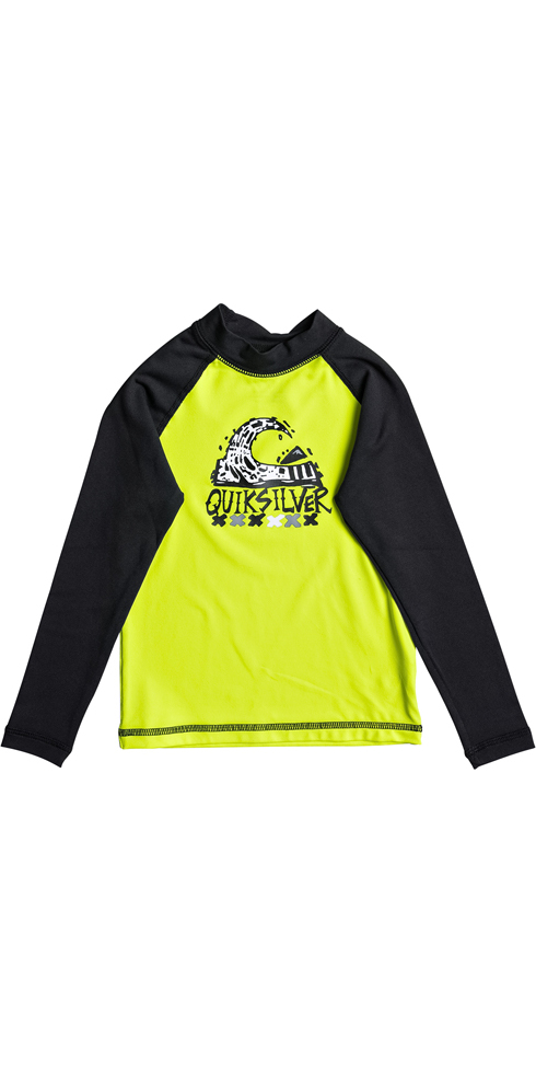 54177295a4 Quiksilver Boys Bubble Dream Long Sleeve Rash Vest SAFETY YELLOW EQKWR03023