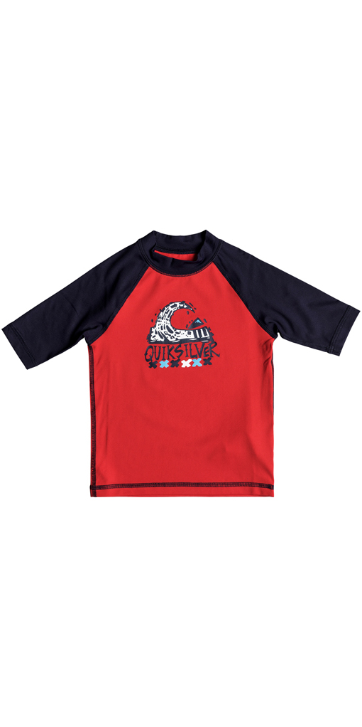 7a565fba85 Quiksilver Boys Bubble Dream Short Sleeve Rash Vest Red Eqkwr03024 ...