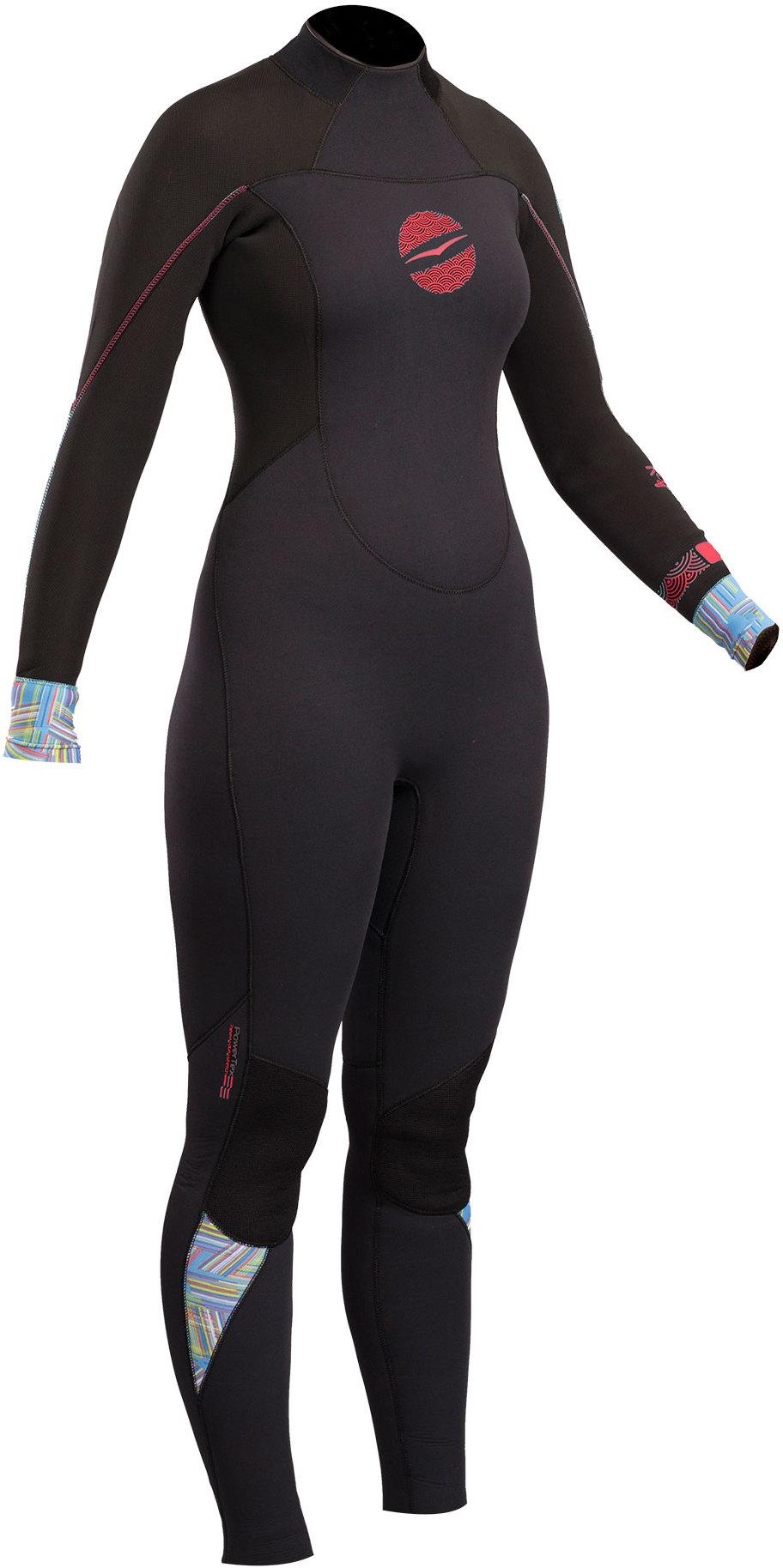 2019 Gul Response Womens 4/3mm GBS Back Zip Wetsuit Black RE1248-B4