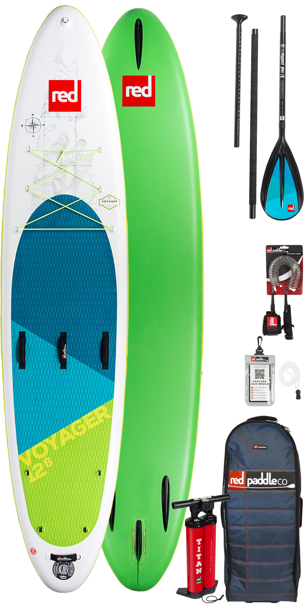 82f4e71192cbd5 2019 Red Paddle Co Voyager 126 Inflatable Stand Up Paddle Board Bag Pump  Paddle   Leash - Explorer