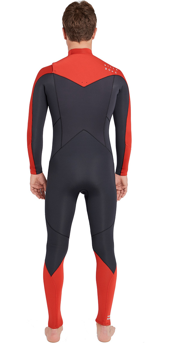 2019 Billabong Mens Furnace Absolute 4/3mm Chest Zip Wetsuit Red L44M09