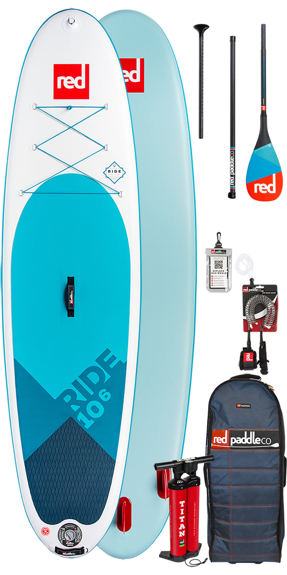 2019 Red Paddle Co Ride 10'6 Inflatable Stand Up Paddle Board - Carbon 50 Package