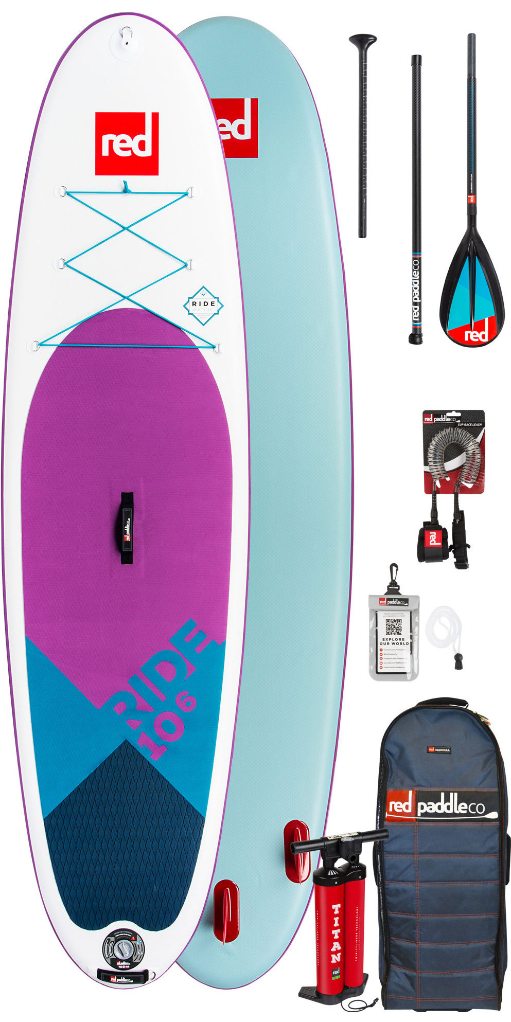 2019 Red Paddle Co Ride 10'6 SE Inflatable Stand Up Paddle Board - Carbon / Nylon Package