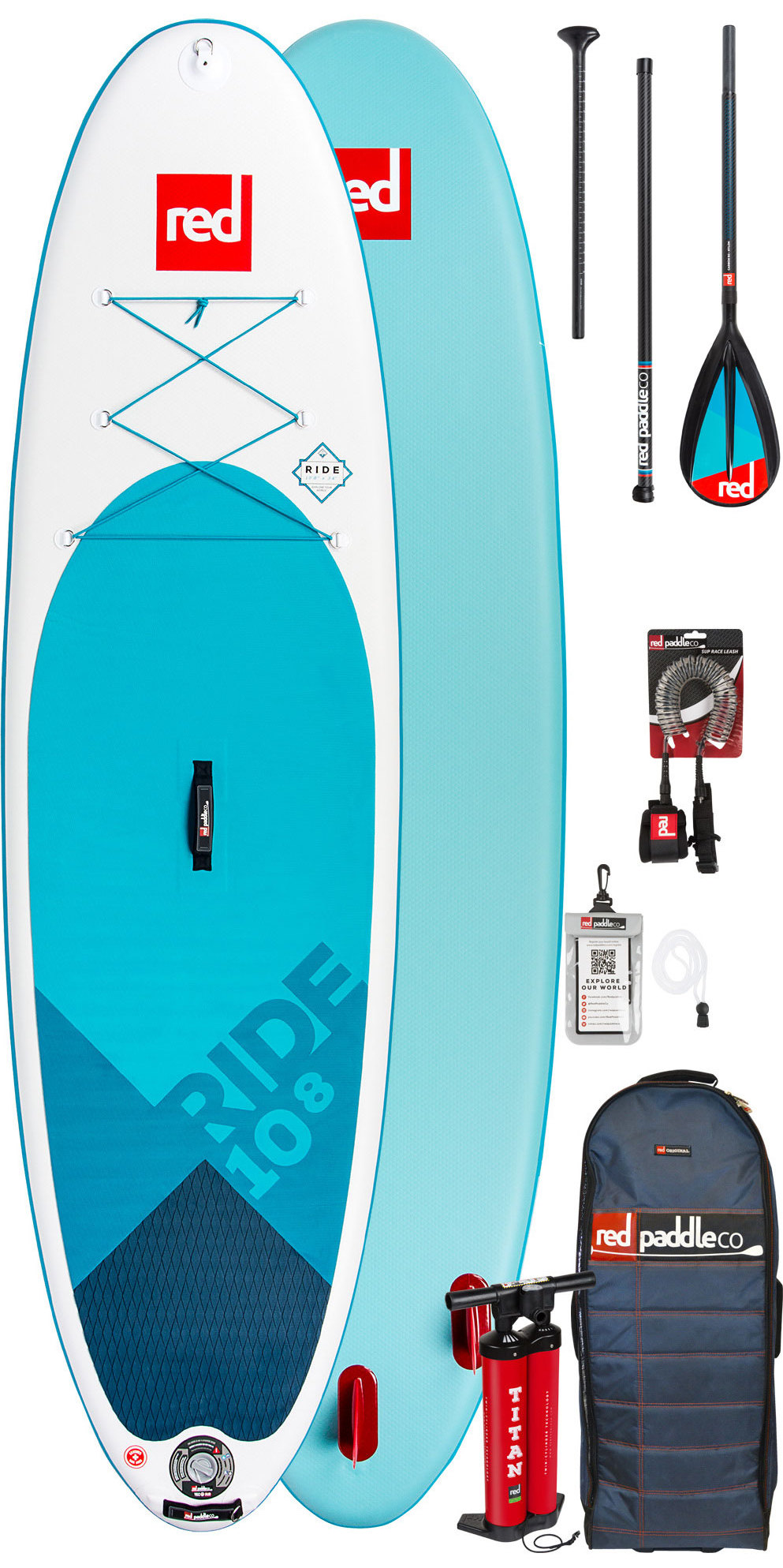2019 Red Paddle Co Ride 10'8 Inflatable Stand Up Paddle Board - Carbon / Nylon Package