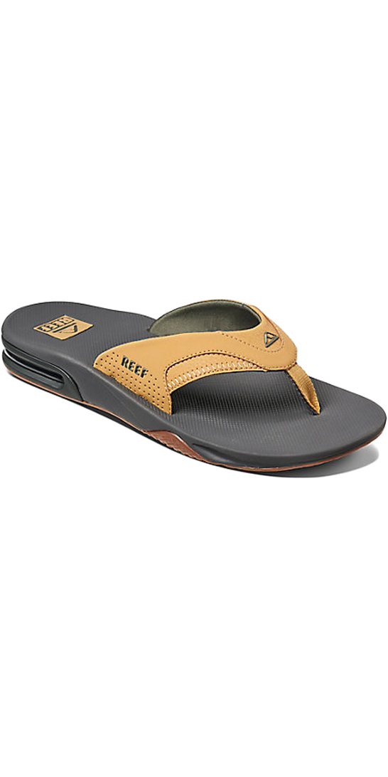 f1447b8c8f2bb 2018 Reef Fanning Bottle Opener Flip Flops CHARCOAL   TAN R02026 ...