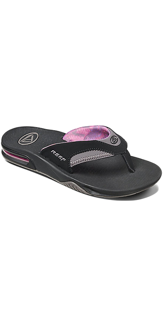 2018 Reef Womens Fanning Bottle Opener Flip Flops BLACK / GREY R01626