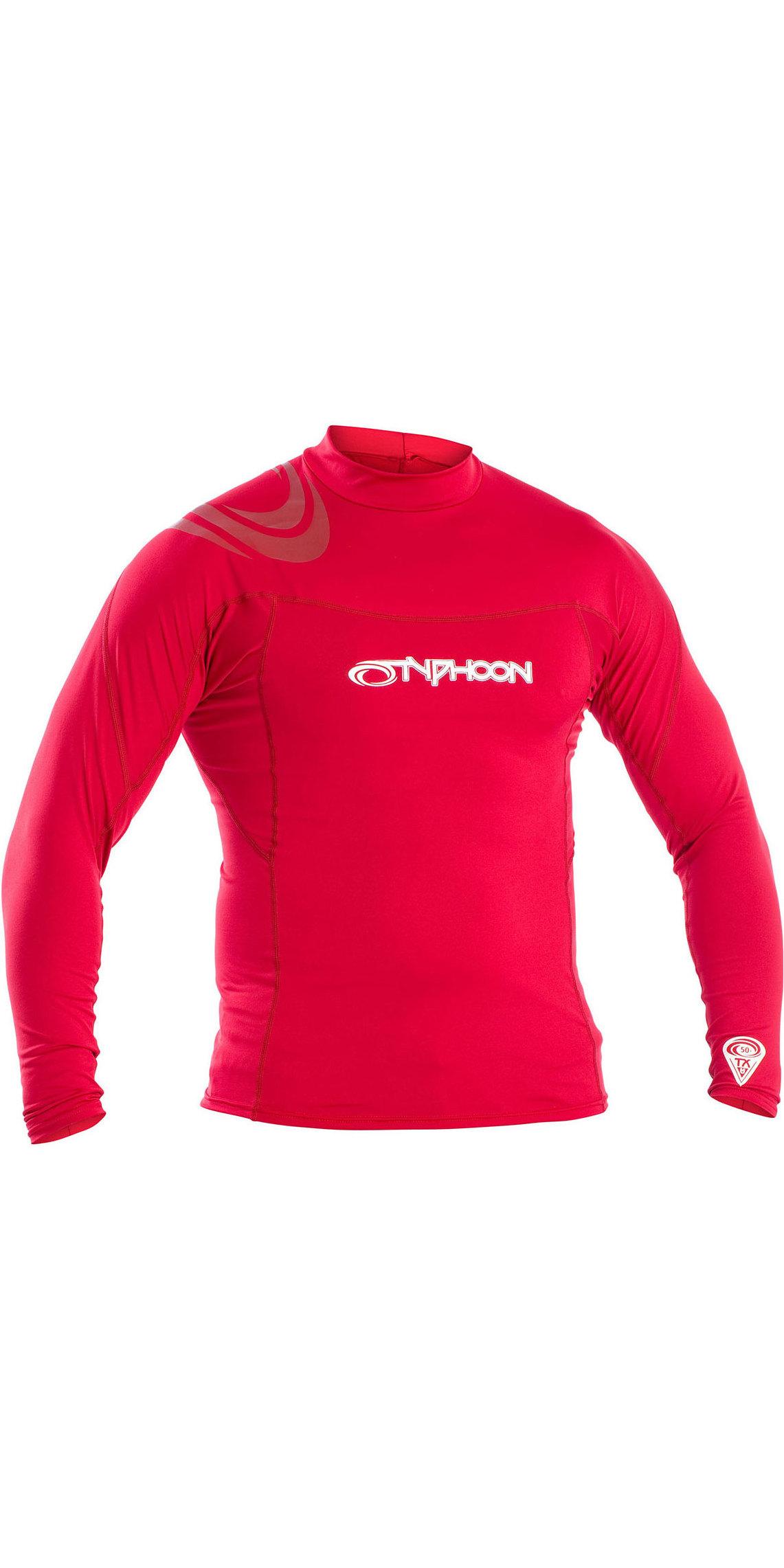 2019 Typhoon Mens Long Sleeve Rash Vest Rich Red 430012