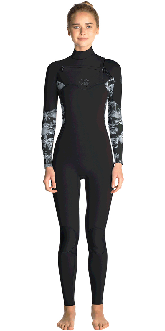 2019 Rip Curl Womens Flashbomb 4 3mm Chest Zip Wetsuit BLACK   GREY WST7FS  ... c6461a696