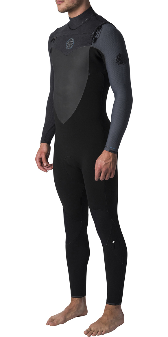 2019 Rip Curl Flashbomb 4/3mm GBS Chest Zip Wetsuit BLACK / GREY WST7NF
