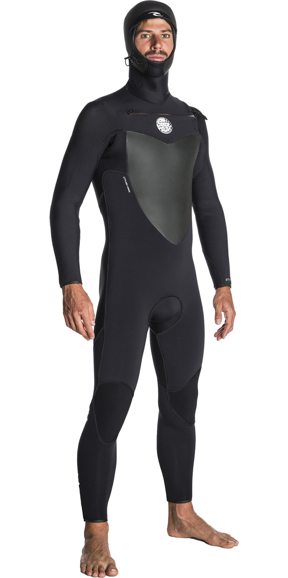 2019 Rip Curl Flashbomb 5/4mm Hooded Chest Zip Wetsuit BLACK WST7AF